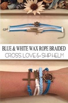 Cross Love & Ship Helm Wax Rope Braided Bracelet | 17 cm | 1 pc