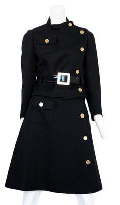 Courreges two piece wool asymmetric skirt suit
