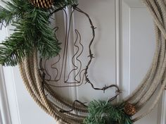 Rustic Cowboy Lasso Rope Wreath w/ Barbed Wire by StephsStuff10
