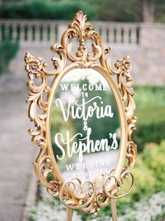 Elegant vintage gold mirror wedding sign: http://www.stylemepretty.com/canada-weddings/ontario/toronto/2017/01/11/the-kind-of-wedding-you-look-back-on-and-still-love-in-20-years/ Photography: Julia Park - http://www.juliapark.ca/