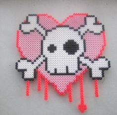Huge Skull With Pink Heart And Dripping Blood Awesome Made With Perler Beads via Etsy