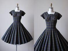 1950s Dress - Vintage 50s Dress - Blue Black Olive Plaid Full Skirt Cotton Party Dress S - Bow and Arrow Dress by jumblelaya on Etsy