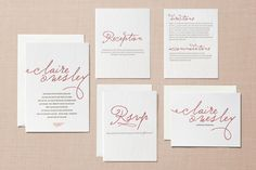 Letterpress Wedding Invitations with script headings