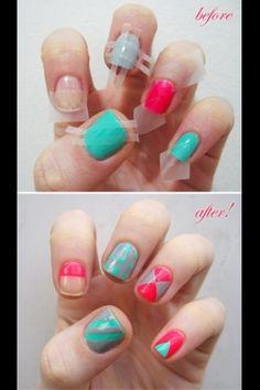 Really cool tape designs for nails! Nail art, nail designs, nail polish!