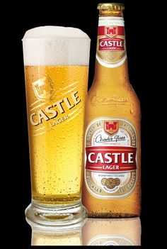 Castle lager glass and bottle Lager Beer, Food N, Wine Drinks, Wine Recipes, Beer Bottle, Castle, Mugs, Glass, Products
