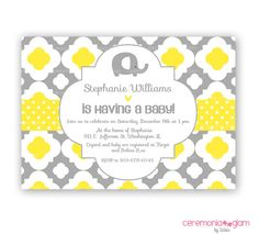 Quatrefoil PRINTABLES | Quatrefoil baby shower elephant yellow and grey printable invitation