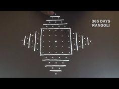 Daily rangoli design with 5 dots kolam, simple and easy*melikala muggulu with 5 dots