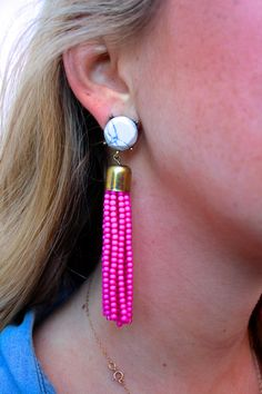 Affordable pink tassel earrings