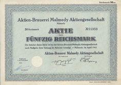 Malmedy Aktien-Brauerei Malmedy Aktie 50 RM 1943 selten Belgien ungelocht RAR