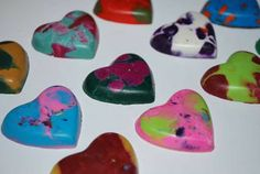 Recycled crayon hearts from molds