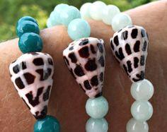 Shell & Aqua Gemstone Bead Stretch Bracelet. Beautiful Beach Boho Shell and Faceted Aqua Mountain Jade Stacking Bracelet. - Edit Listing - Etsy
