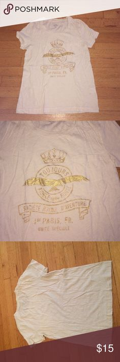 J.Crew Vintage Cotton Cream/Gold Pocket Tee J.Crew Vintage Cotton Cream/Gold Tee. Size small. Excellent condition. Does have one tiny microscopic blemish by the neckline as shown in last picture. Not noticeable AT ALL but I am honest. Pocket tee J. Crew Tops Tees - Short Sleeve