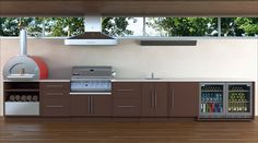 Outdoor kitchen, pizza oven BBQ and fridge! LOVE - My Modern Kitchens Ideas - Outdoor kitchen, pizza oven BBQ and fridge! LOVE Outdoor kitchen, pizza oven BBQ and fridge! Outdoor Kitchen Grill, Modern Outdoor Kitchen, Outdoor Cooking Area, Outdoor Kitchen Cabinets, Patio Kitchen, Modern Kitchen Design, Outdoor Kitchens, Modern Kitchens, Outdoor Oven