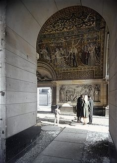 Germany, Berlin - Mosaics and reliefs in the ruin of the church 'Kaiser-Wilhelm-Gedaechtnis-Kirche'. - 1961