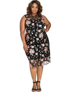 Black Plus Size Embroidery Women's Sheath Dress