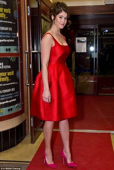 Prom princess: Gemma Arterton dazzles in a scarlet puffball dress as she hits…