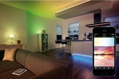 Bring modern and funky decor to your home with these awesome wireless lightstrips! Once installed, you can control them from your smart device! A great way to add mood lighting to your living room or bedroom. Funky Decor, Buying A New Home, California Homes, Southern California, Cool Inventions, Home Trends, Home Lighting, Interior Lighting, Kitchen Lighting
