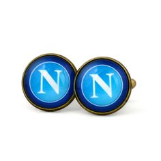 S.S.C. Napoli Logo cufflinks.Italian football club. Società Sportiva Calcio Napoli club. Personalised Silver Men's jewelry accessories gift. by Mysstic on Etsy