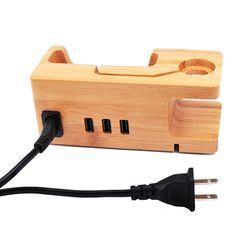 Novo 3 Portas USB EUA UE UK Plug AC Carregador De Madeira De Bambu adaptador de energia estação de carregamento base dock suporte para telefone celular apple watch