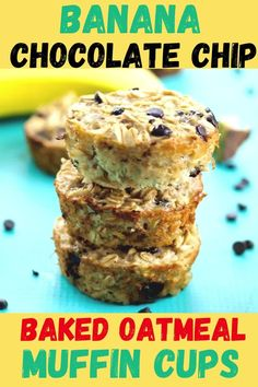 The best easy and healthy breakfast! These Banana Chocolate Chip Baked Oatmeal Muffin Cups are easy to make, dairy free, gluten free, and a big hit with the whole family. Great healthy breakfast recipe idea!