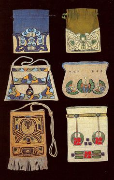 "Arts and Crafts Embroidered Bags c.1912 - Beautiful early 20thc hand embroidered linen bags used for taking one's needlework along on a trip. From the book ""American Arts and Crafts Textiles"" by Diane Ayres (and Co.)"
