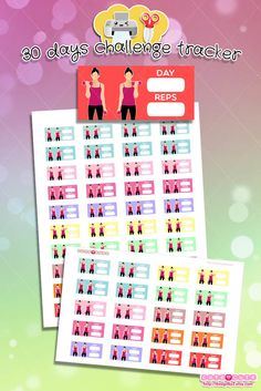 30 days challenge,  Printable Planner stickers for Erin condren. Gym stickers, Fitness stickers