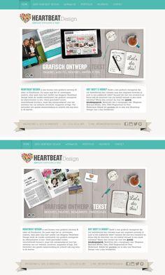 Website van Heartbeat Design Grafisch ontwerp & Tekst met twee verschillende banners. www.heartbeatdesign.nl