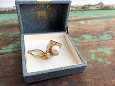 Vintage Sterling Silver gold Vermeil Tie Tack Pin 6mm real Pearl Original box by Holliezhobbiez on Etsy