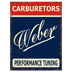 """Add a bit of nostalgia to your garage or den with this vintage Weber Carburetors metal sign. Made by hand in the USA, these heavy duty signs are manufactured from 24 gauge steel, and printed using dye-sublimation for a durable and very detailed finish. Signs measures 12"""" x 16""""."""
