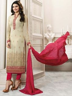 Have a gorgeous look in this elegant outfit.  Item Code:  SLANB264561 http://www.bharatplaza.com/new-arrivals/salwar-kameez.html