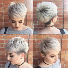Pin by jessica smith on undercut pixie in 2019 short grey hair, hair styles, real Short Pixie Haircuts, Cute Hairstyles For Short Hair, Short Hair Cuts For Women, Pixie Hairstyles, Pretty Hairstyles, Short Hair Styles, Undercut Pixie Haircut, Pelo Pixie, Short Grey Hair