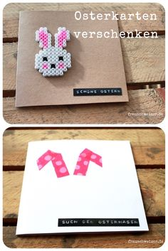 Make a homemade card for Easter - Great handmade Easter cards … - Hama Beads, Fuse Beads, Make Your Own Card, Presents For Men, Just Giving, Happy Easter, Easter Baby, Pin Collection, Making Ideas