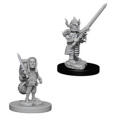 Dungeons & Dragons Nolzur's Marvelous Miniatures come with highly-detailed figures, primed and ready to paint out-of-the-box. Fully compatible with Acrylicos Vallejo paints, these fantastic miniatures include deep cuts for easier painting. The packaging displays these miniatures in a clear and visible format, so customers know exactly what they are getting. This is a 2 count character pack which includes a high and low level miniature of the same character. Female Half Orc, Female Elf, Mini Paintings, Easy Paintings, Dungeons And Dragons, Cloud Giant, Half Orc Barbarian, Vallejo Paint, Paint Charts