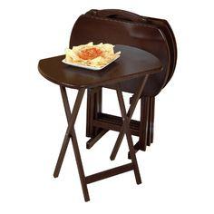 Winsome Black 5 Piece Rectangular Tv Table Set Tv Trays At Hayneedle ...