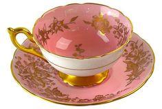 18th C. Coalport Bone China Pink English Teacup & Saucer from England: