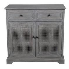 Beachcrest Home Greenridge 2 Drawer 2 Door Storage Cabinet Finish: Slate Gray