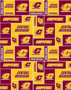 Fleece Central Michigan University Chippewas CMU by fieldsfabrics, $12.97
