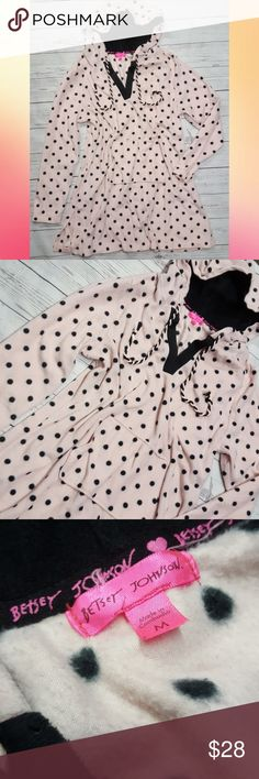 Betsey Johnson Pink Polka Dot Hooded Night Dress Super soft, great condition Betsey Johnson Intimates & Sleepwear