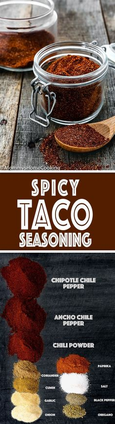 This Homemade Spicy Taco Seasoning recipe is super easy to make and way better than store packages. Made with spices you probably already have in your pantry, this blend will add a little excitement to just about anything. https://mommyshomecooking.com