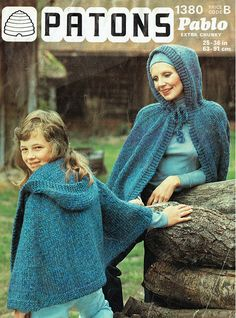 Items similar to PDF Vintage Ladies Womens Girls Pixie Hood Cape Cloak Knitting Pattern Patons 1380 CHUNKY Poncho Mother & Daughter Boho on Etsy Vintage Knitting, Vintage Crochet, Hand Knitting, Knitted Cape, Hippie Chick, Period Costumes, Crochet Patterns, Knitting Patterns, Vintage Girls
