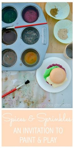 Spices & Sprinkles Sensory Painting by Crayon Box Chronicles. Invitation to paint and play with spice watercolors and play food.