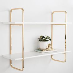 Give your room a golden touch with this modern Metallic Trim Wall Bookcase. It's adorned with luxe gilded details and ample space to hold books, storage containers, decor. Crafted from sturdy medium density fiberboard and metal, this glam Cute Dorm Rooms, Interior, Cool Rooms, Wall Shelves, Living Room Decor, Home Decor, Decor Guide, Bedroom Decor, Living Decor