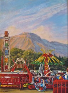 "Landscape Artists International: Original Colorful Fairgrounds Colorado Landscape ""County Fair"" by Colorado Artist Nancee Jean Busse, Painter of the American West"