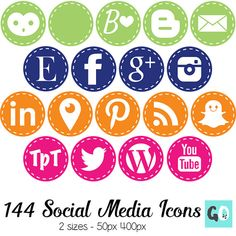 Social Media Icons with White Stitching  Lime by BarbaraLeyne
