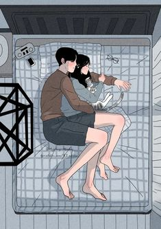 Sleeping Couple - Romance and Love Paint By Numbers - Numeral Paint Couple Amour Anime, Couple Manga, Cute Couple Art, Anime Love Couple, Cute Anime Couples, Cute Couple Cartoon, Anime Couples Cuddling, Cute Couple Comics, Couple Romance