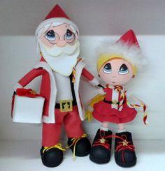 Fofucho Santa con su ayudante.  Elaborados en fomy.  Listos para esta Navidad 2013