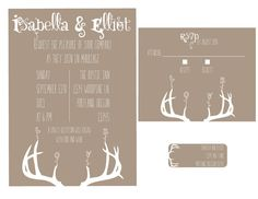 Woodland Deer Antler Wedding Printable by sonnyandthesquid on Etsy, $24.99