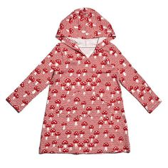 Winter Water Factory Hoodie Dress - Mushrooms Red ADORE