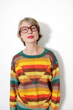Vintage sweater / hand knitted colorful striped sweater by nemres, $53.00