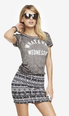 BURNOUT GRAPHIC TEE - WHATEVER WEDNESDAY from EXPRESS